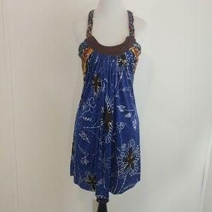Silk and Leather Mini Dress